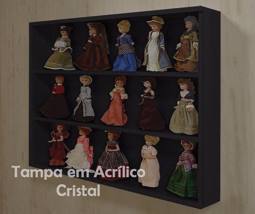 mini estante vitrine p/ coleções e miniaturas - preto laca
