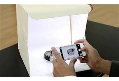mini estúdio cabine fotográfico led ecommerce pop dobravel