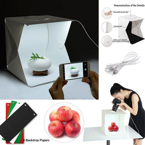 mini estudio fotográfico portatil con luz led usb.