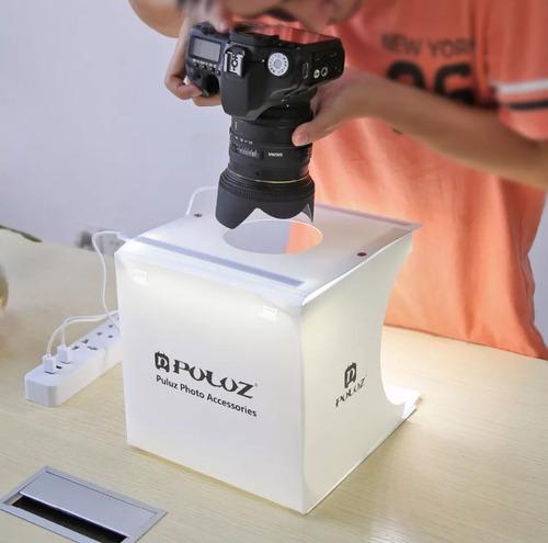 mini estudio fotográfico portátil luz led puluz