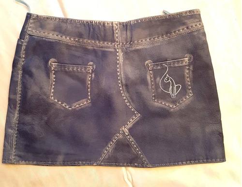 mini falda cuero jeans desgastes  marca baby phat 40-42