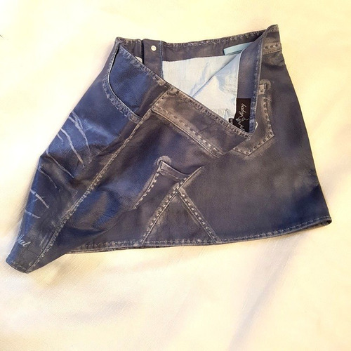 mini falda cuero pintada  jeans marca baby phat 40-42