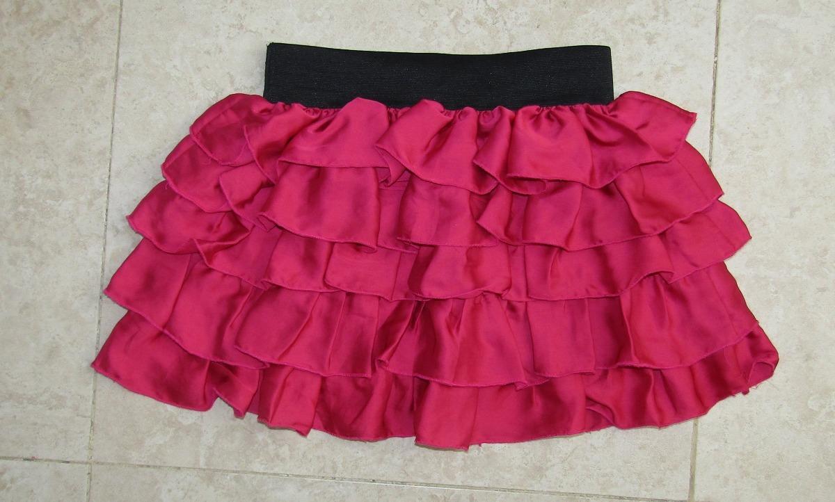 11efb6fba4 Mini Falda De Olanes T  M Rosa -   199.00 en Mercado Libre