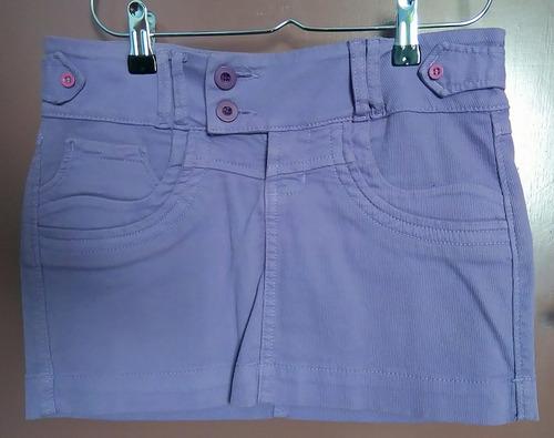 mini falda lila, corduroy sin rayas (talla s)