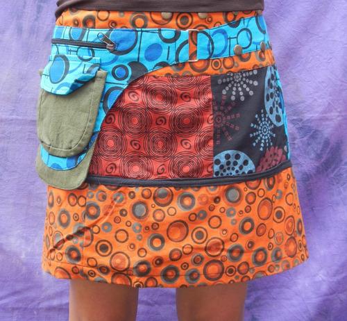 mini falda multi estampados 2 bolsas unitalla de nepal #5
