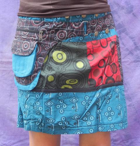 mini falda multi estampados 2 bolsas unitalla de nepal #6