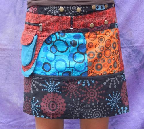 mini falda multi estampados 2 bolsas unitalla de nepal #8