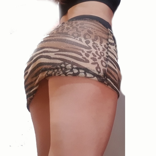 mini falda sexy animal print transparente