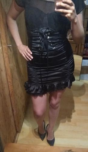 mini falda slim gotica con olanes y encaje para dama