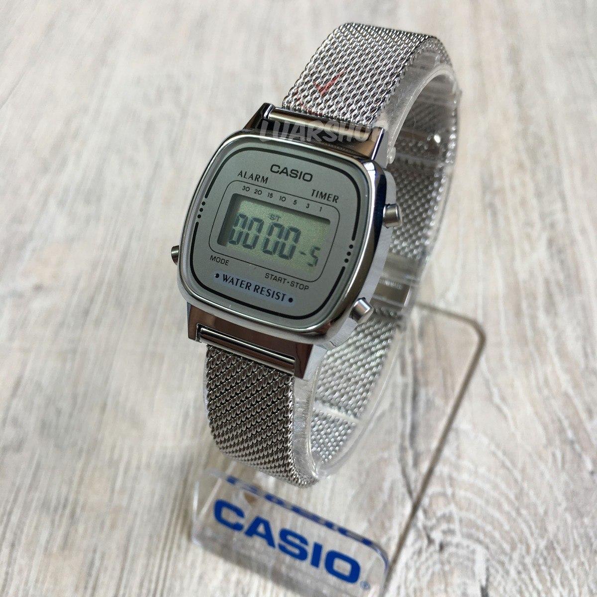 523a63c1c38 Carregando zoom... relógio casio digital mini feminino la670wem prata  original