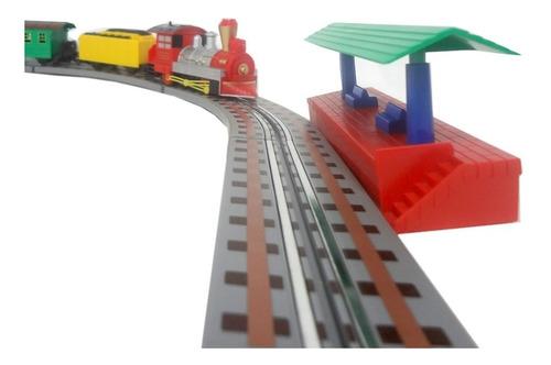 mini ferrorama locomotiva expresso eletrica com luz 61pçs