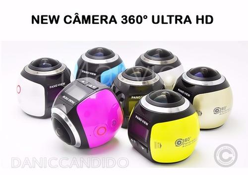 mini filmadora e câmera 360° graus + óculos vr max 3d