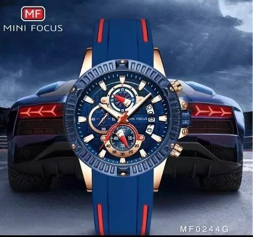 mini focus relógio masculino original azul