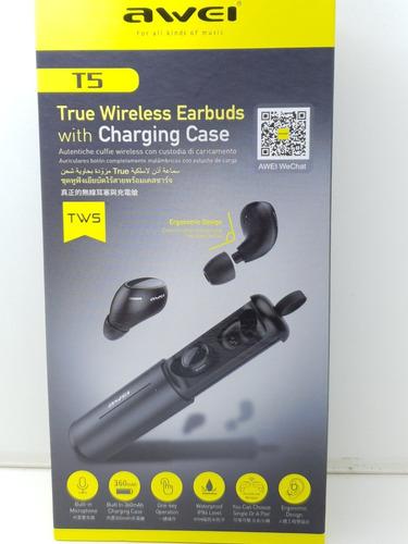 mini fone de ouvido bluetooth awei t5 com case carregador