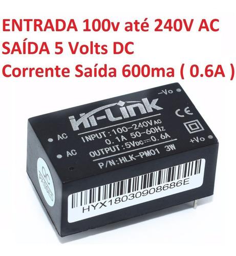 mini fonte hlk-pm01 100-240vac para 5vdc 0.6a 3w arduino
