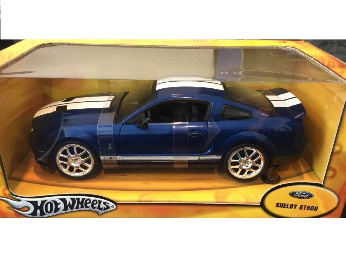 Mini ford mustang shelby gt500 hot wheels 118 blue raridade carregando zoom