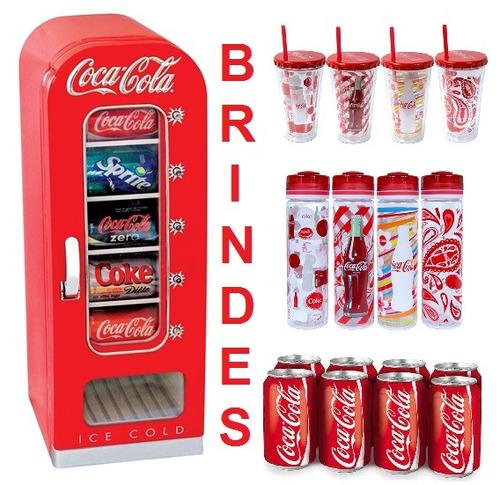 mini geladeira coca cola vintage 10 latas + brinde oficial