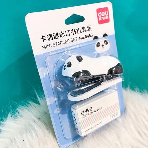 mini grampeador urso panda + 1000 grampos escolar.