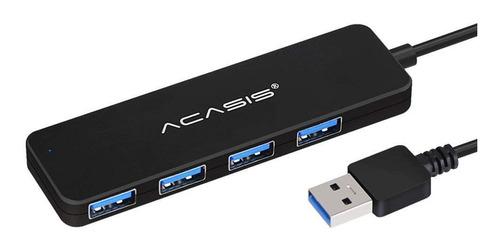 mini hub usb 3.0 de 4 puertos acasis negro para pc o laptop