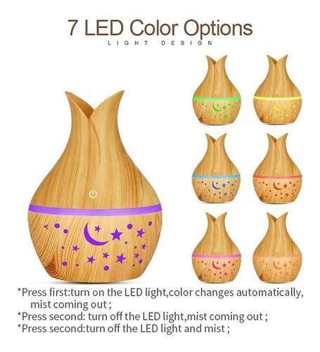 mini humidificador difulsor de ar aromatizador led 7 cores
