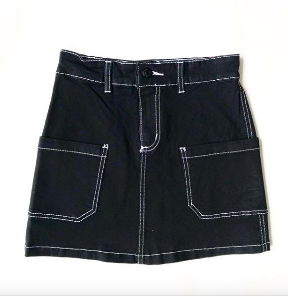 9c9a7aa2d Mini Jean Pollera Negra Bolsillos Costuras Black Friday