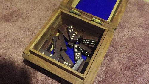 mini juego dominó antiguo (adorno)