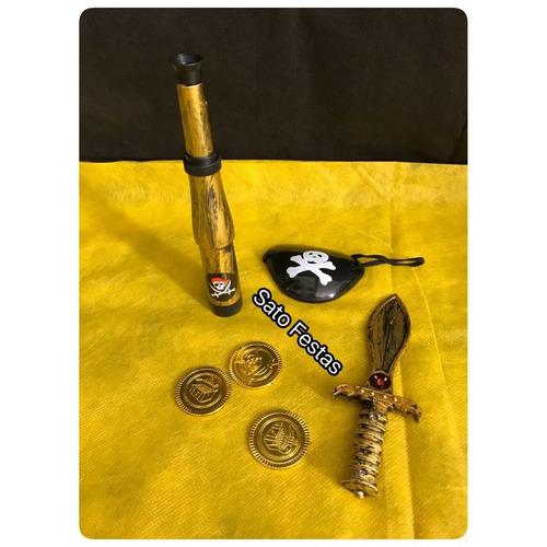 mini kit pirata com luneta espada moedas e tapa olho  - 1 un
