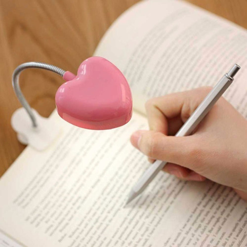 mini lámpara lectura corazón luz led  con broche libro