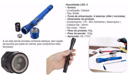 mini lanterna 3 leds flexível c/ imã p/ mecânico eletricista