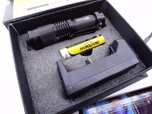 mini lanterna tática profissional creeled + 2 baterias extra