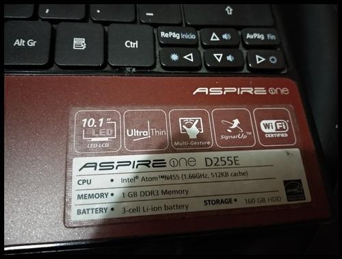 mini laptop acer aspire one d255e / 2gb ram / 320 gb hdd