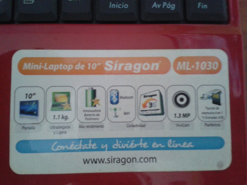 mini-laptop siragon ml-1030 40 verde