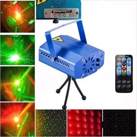 mini laser audioritmico efecto lluvia rojo verde c/ parlante