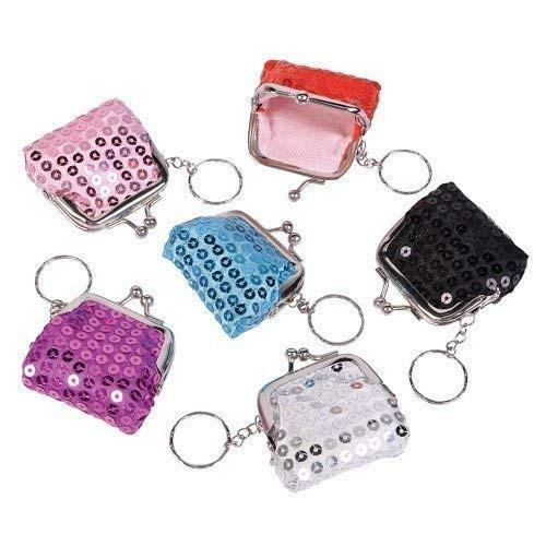 mini lentejuela clave cadena monederos (1 dz)