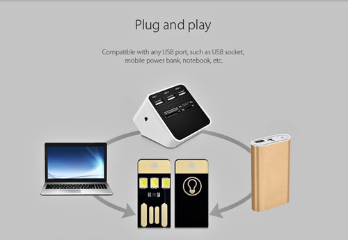 mini linterna led usb para laptop pc power bank pack 5 pzas