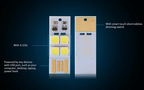 mini linterna led usb touch para laptop pc power bank 3pzas