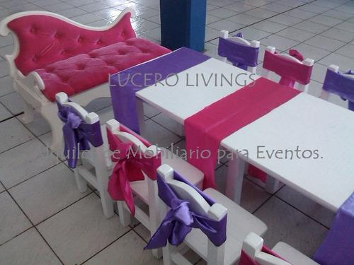 mini livings, sillas, puffs, mesas, sillon y divan  princesa