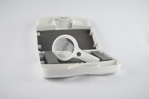 mini lupa de mão 8 led uv + 1 branco 60mm lâmpada wood
