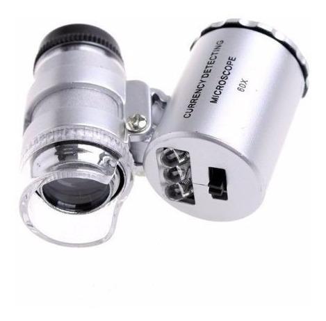 mini lupa microscopio 60x 2 luz led detector de billetes