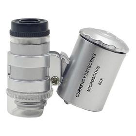 Mini Lupa Microscopio De Bolsillo 60x Luz Led Y Luz Uv