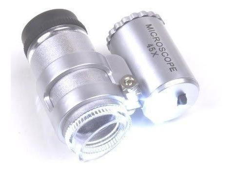 mini lupa para joyería. microscopio aumento x 45 con luz led