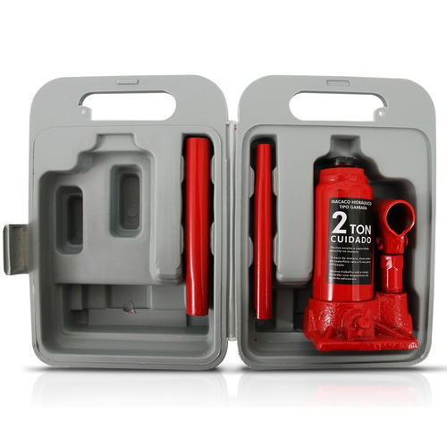 mini macaco hidráulico 2 ton tipo garrafa c/ maleta portátil