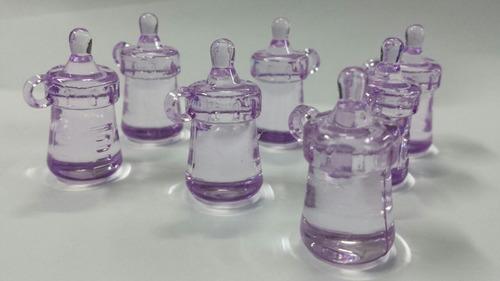 mini mamadeira acrílica lilás 2,5cm - kit 25 unidades