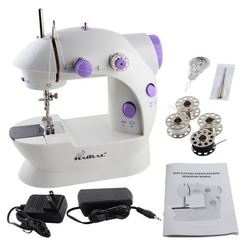 mini máquina de coser portátil con luz y pedal de velocid