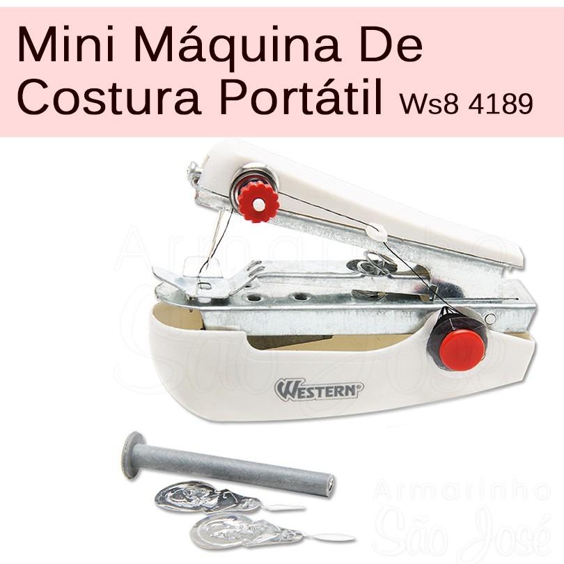 22b3a3def mini máquina de costura tecidos portátil manual western 4189. Carregando  zoom.