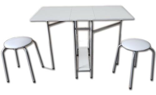 mini mesa automatica plegable + 2 banquetas apilable regalo