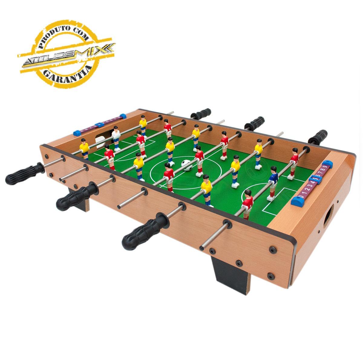 Mini Mesa Pebolim Totó Futebol 18 Jogadores Compacto Mdf - R  149 e7d87be0bb089