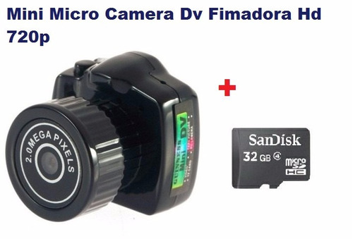 mini micro camera dv fimadora hd 720p+ 32gb classe 4