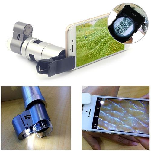 mini microscopio 200x con luz led para celular / aumento 200