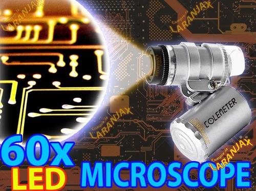 mini microscópio 60x lupa bolso led uv joiás selos arduino